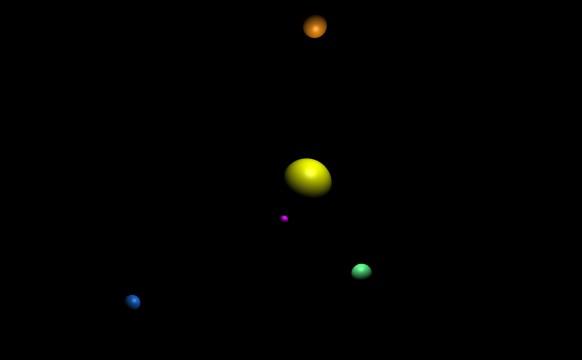 """Saulės planetų sistema, sukurta su """"THREE.js""""."""